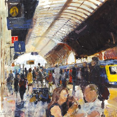 Paddington Station. July 2013.      mixed media on board.     23 x 23.5cm.