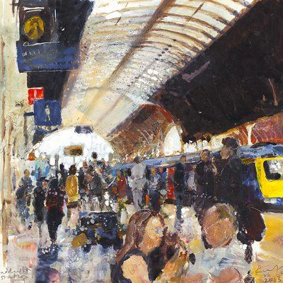 Paddington Station. July 2013.      mixed media on board.     23 x 23.5cm.