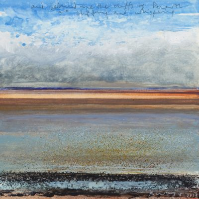 And behind me the cliffs of Penarth...May 2013.       mixed media on board.      21.5 x 21.5cm.