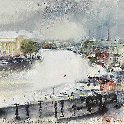 It's all so wet. Bristol Docks...May 2013.      mixed media on paper .    57 x 62cm.