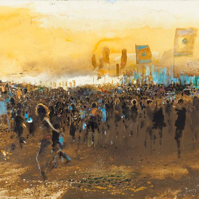 Glastonbury mud at sunset. 2014.    mixed media and mud on paper.    56 x 69cm.