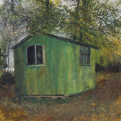 Ted's hut. Autumn winds rattling the conker leaves. October 2013.    mixed media on board.   65 x 65cm.