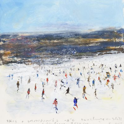 Skis and snowboards…Cairngorm. April 2013.       mixed media on board.     21 x 20cm.
