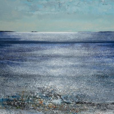 Chased by the tide on Scilly. 2018.    mixed media on linen.  201 x 250cm.