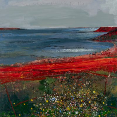 The arable weeds of Scilly. 2018.   mixed media and oil on canvas.  91.5 x 91.5cm.