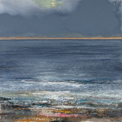 Towards Scilly. 2016/2017.   mixed media on canvas.  122 x 122cm.
