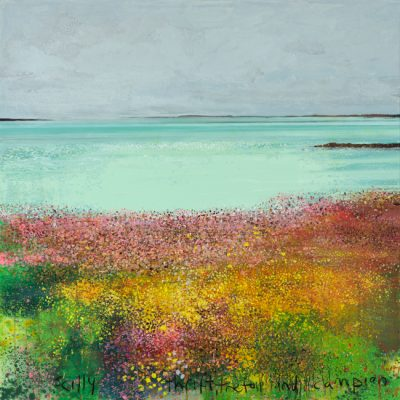 Scilly, thrift, trefoil and campion. 2018.   mixed media on canvas.  122 x122cm.
