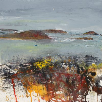 Blue boat and Scillonian wavy heath. 2018.   mixed media on museum board.  60 x 60cm.