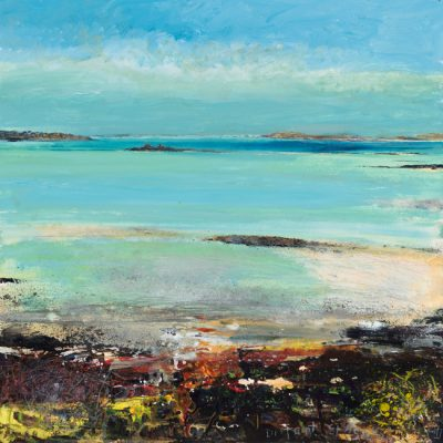 Distant St Agnes. 2018.   mixed media on museum board.   60 x 60cm.