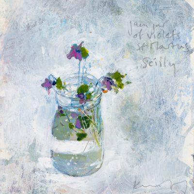 Jam jar of violets, St Martins. 2018.   mixed media on museum board.   25 x 20cm.