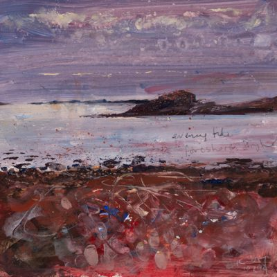 Evening tide, Bryher foreshore. 2014.   mixed media on museum board.  28 x 30cm.