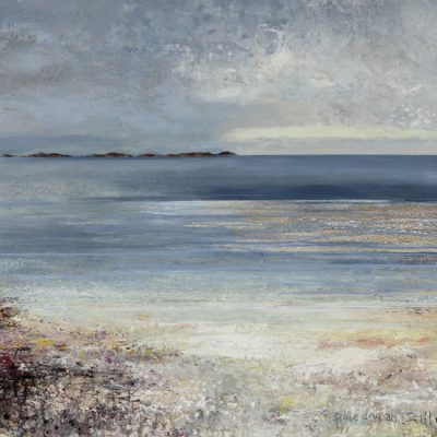 Pale day on Scilly.   mixed media on linen.   132 x 201cm