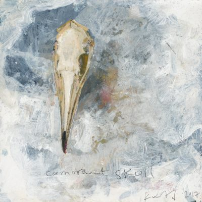 Cormorant skull. 2017.    mixed media on museum board.     21 x 22cm.