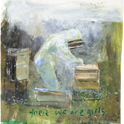 """""""There we are girls"""". May 2014.   mixed media on paper.  25 x 24cm."""