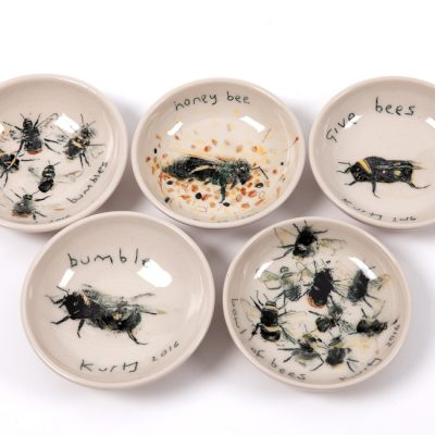 Bowl of bees. 2016.   stoneware  diameter 12cm each.