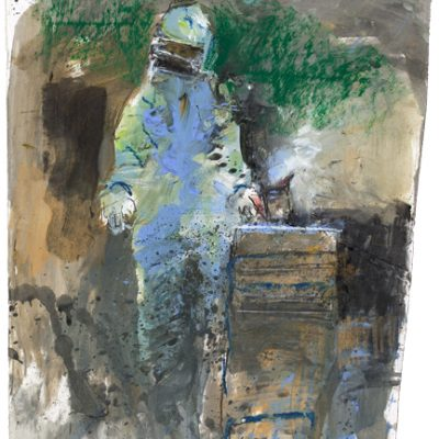 Beekeeper and smoker. May 2014.   mixed media on paper.  41 x 27cm.