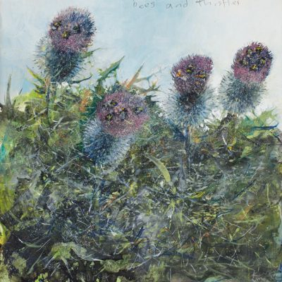 Bees and thistles, Dorset. August 2013.   mixed media on board. 32 x 32cm.