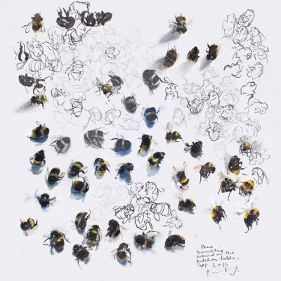 Bees bumbling around the kitchen table. 2014.   mixed media on paper.  43 x 42cm.