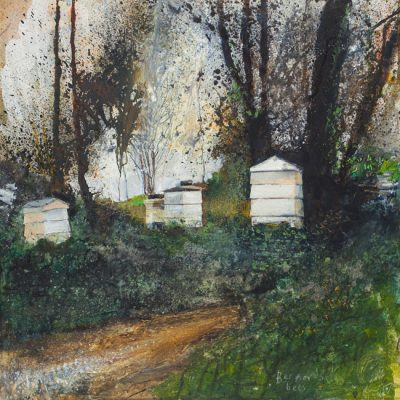 Bernard's bees. March 2014.   mixed media on wood panel.  60 x 60cm.