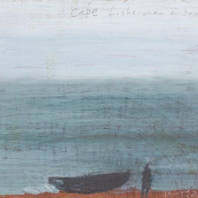 Cape fisherman and boat.  2018.    mixed media on plywood.  13 x15cm.
