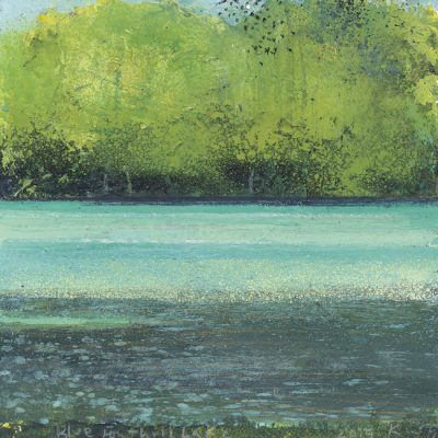 Blue Fonthill Lake. 2019.     mixed media on museum board.    19 x 18cm.