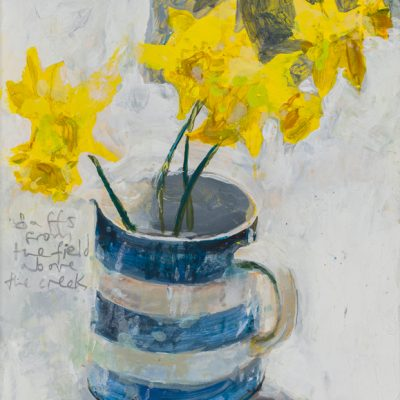 Daffs from the field above the creek. 2017.  mixed media on museum board.  20 x 17cm.