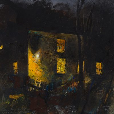 Frenchman's Creek cottage. 2014.  mixed media on museum board.  20 x 20cm.
