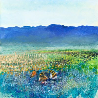 Hot Provencal morning, bees in the lavender. July 2013.   mixed media on board.  22 x 22cm.