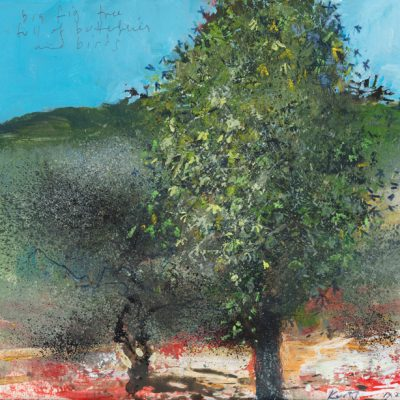 Big fig tree full of butterflies and birds. 2015.   mixed media on museum board.  22 x 23cm.