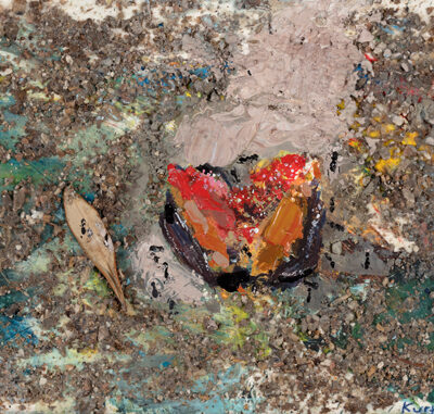 The squashed fig. 2015.   mixed media and collage on museum board.  13 x 22cm.