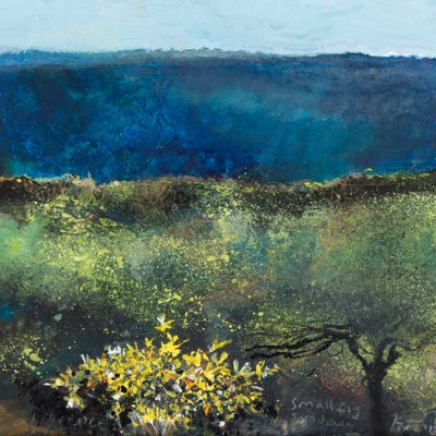 Small fig, sundown. 2015.   mixed media on museum board.  20 x 22cm.