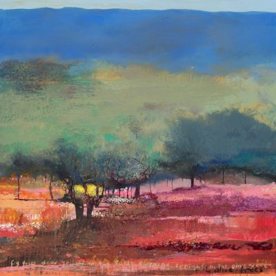Fig trees glow yellow in the early evening sunlight in the olive grove. 2015-2017.  mixed media on canvas.  122 x 122cm.