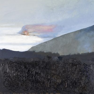 The single cliff top tree on the way to Kiss Me Arse Steps. 2011.   oil and collage on canvas.  122 x 122cm.