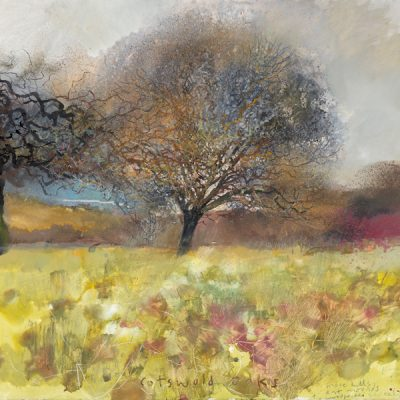 Cotswold oaks, molehills and ant mounds. 2016.     mixed media on paper.     57 x 62cm.