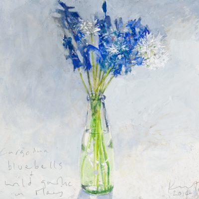 Bluebells and wild garlic in May. 2014.     mixed media on board.    20.5 x 22cm.