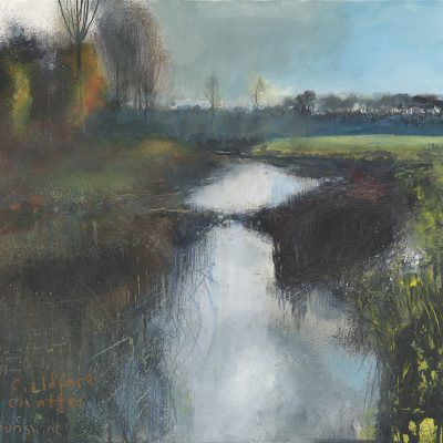 The Stour downstream from Nayland…December 2016.   mixed media on paper.  57x60cm.