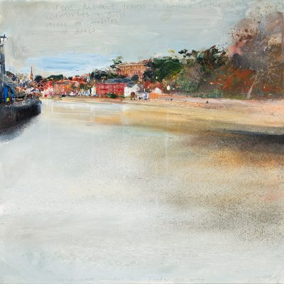 Cold still winters day. Exeter Old Quay. January 2016.      mixed media on wood panel.    60x60cm.