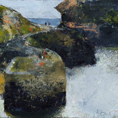 Boscastle Harbour, a few visitors. November 2015.    mixed media on museum board.   15 x 16cm.