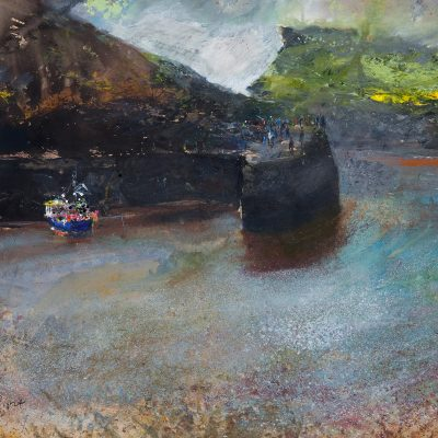 Boscastle's morning sunlight after a nights heavy rain. A seal swims in on the flowing tide. November 2015.    mixed media on paper.   91 x 137cm.