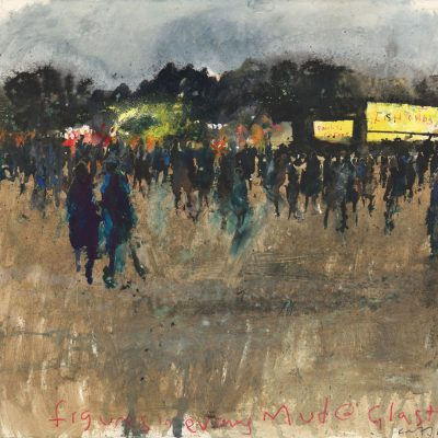 Figures in evening mud.  Glastonbury 2011.     mixed media and mud on paper.    57 x 62cm.