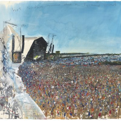 Fisherman's Friends on stage.  Glastonbury 2011.    mixed media on paper.  57 x 60cm.