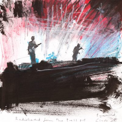 Radiohead from the press pit.  Glastonbury 2017.     mixed media on paper.   30.5 x 29.5cm