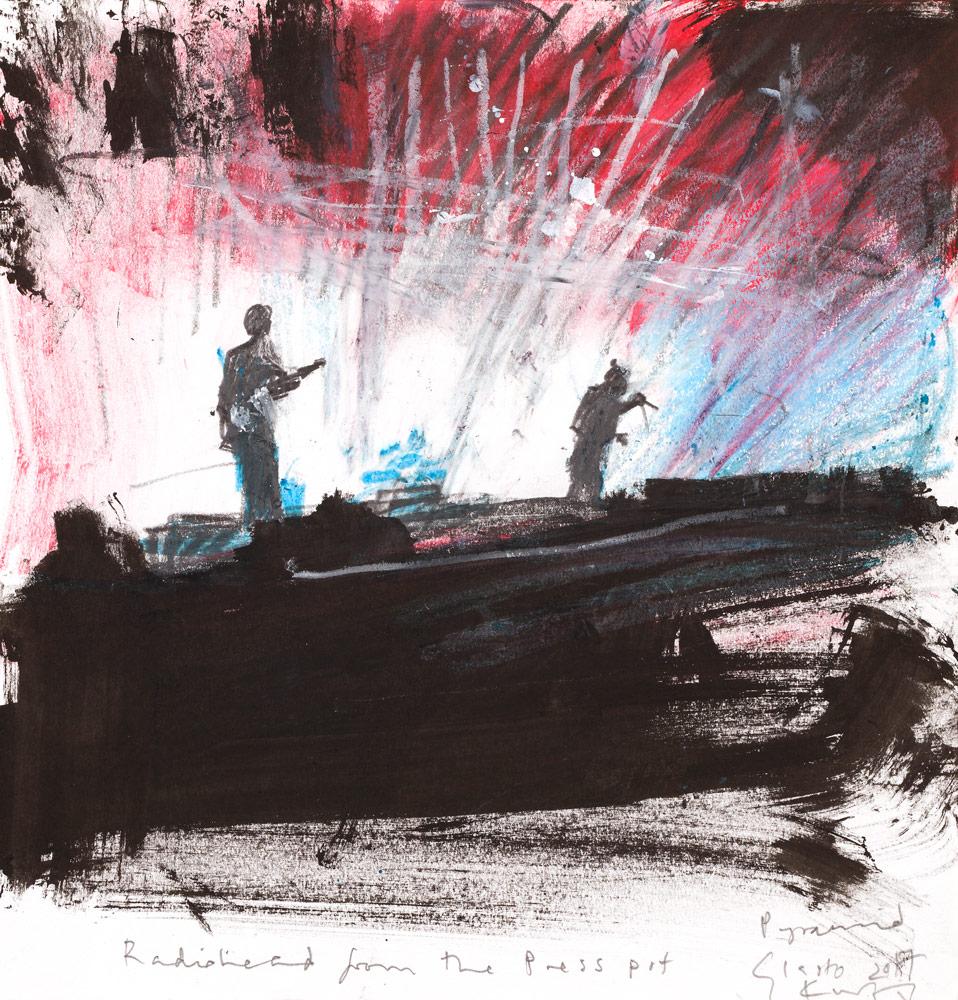 Kurt Jackson: Radiohead from the press pit.