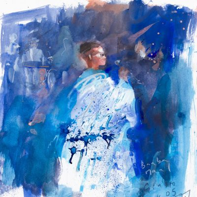 Baba Maal.  Glastonbury 2005.  mixed media on paper.  25 x 24cm.