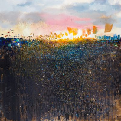 In the heart of Glastonbury, mud at sunset. 2020.     mixed media on canvas.    122 x 122cm.