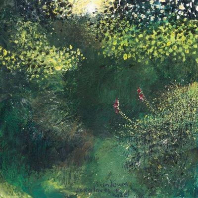 Sundown, foxgloves and hazel. 2020.   mixed media on museum board.  22 x 22cm.