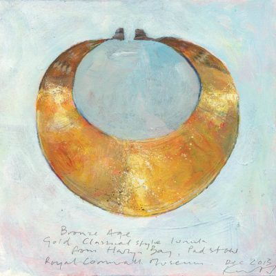 Gold lunula from Harlyn Bay. 2013.    mixed media on museum board.    21 x 21cm.