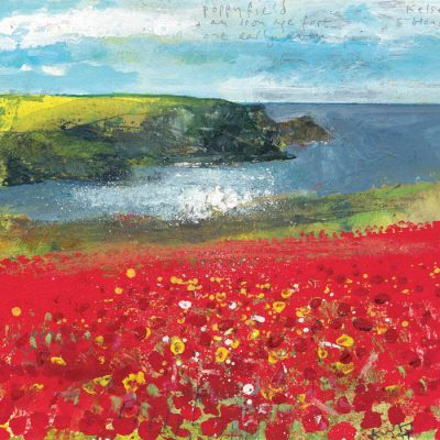 Poppy field and an iron age fort one early evening. 2019.    mixed media on museum board.   22 x 24cm.