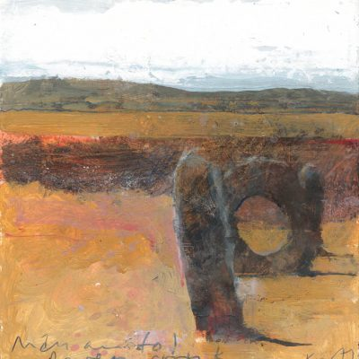 Men-an-Tol, raven cronk. 2018.    mixed media on museum board.    21 x 20cm.