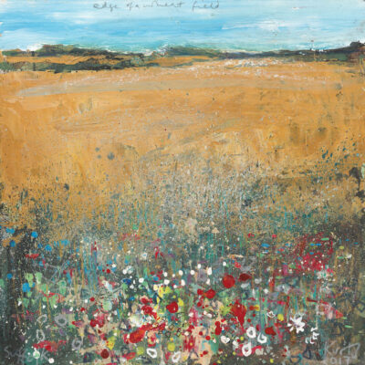 Edge of a wheat field, Suffolk. 2017. mixed media on museum board. 22 x 22cm.